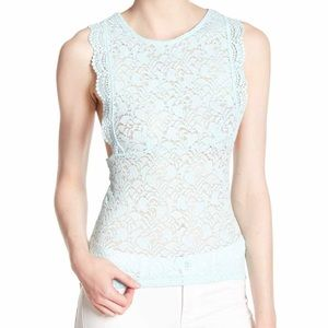 NWT Free People Sure Thang Lace Tank mint green M